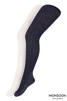 Monsoon Girl Rainbow Sparkle Cable Tights Two Pack