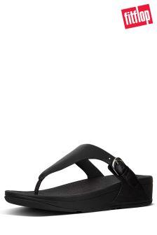 FitFlop™ Black Leather The Skinny Toe Post Sandal