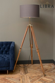 Libra Wooden Tripod Floor Lamp
