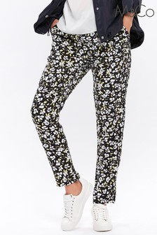 &Co Black Floral Airport Soft Trousers