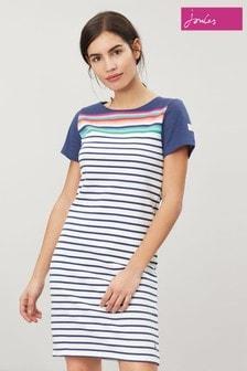 Joules Blue Riviera Short Sleeve Jersey Dress