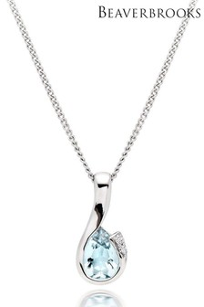 Beaverbrooks 9ct White Gold Diamond Aquamarine Pendant