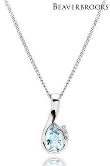 Beaverbrooks 9ct White Gold Diamond Aquamarine Pendant
