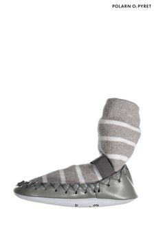 Polarn O. Pyret Grey Striped Moccasins