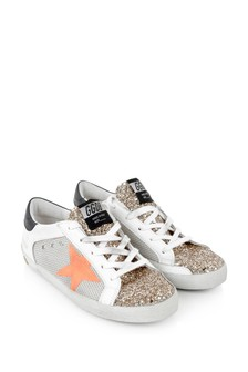 Kids White Leather & Glitter Superstar Trainers