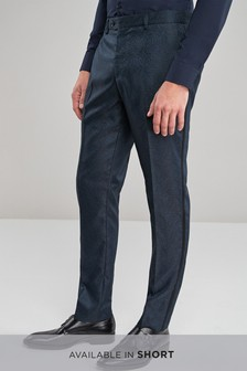 Skinny Fit Paisley Jacquard Suit: Trousers