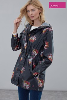 Joules Black Golightly Printed Waterproof Packaway Jacket