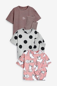 3 Pack Cat Legging Pyjamas (3-16yrs)