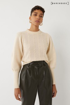 Warehouse Cream Embellished Honeycomb Jumper