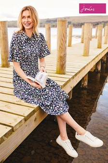 Joules Blue Carla Short Sleeve Shirt Dress