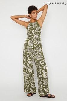Warehouse Green Jungle Print Wide Leg Jumpsuit