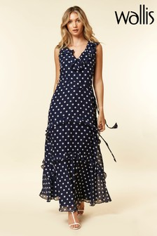 Wallis Blue Navy Spot Frill Midi Dress