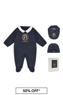 Aigner Baby Boys Navy Cotton Babygrow