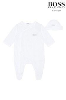 BOSS Baby White Logo Sleepsuit Gift Set