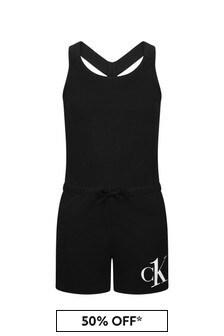 Calvin Klein Underwear Girls Black Cotton Playsuit