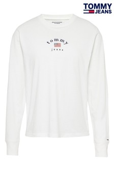 Tommy Jeans White Americana Long Sleeve T-Shirt