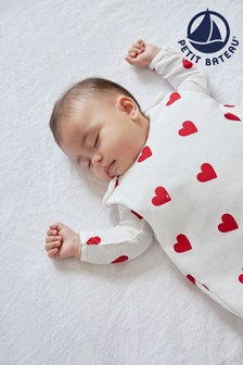 Petit Bateau White Heart Sleep Bag 3.5 Tog