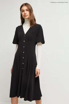 French Connection Black Serafina Jersey Button Dress