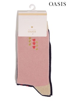 Oasis Heart And Arrow Embroidered Socks Two Pack