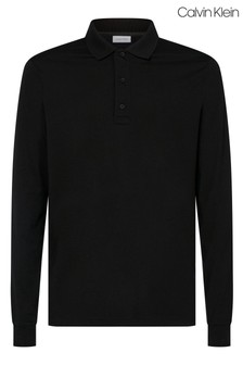 Calvin Klein Black Liquid Touch Long Sleeve Polo