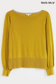 White Stuff Chartreuse Puff Sleeve Jumper