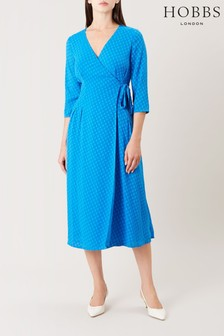 Hobbs Blue Cassie Wrap Dress