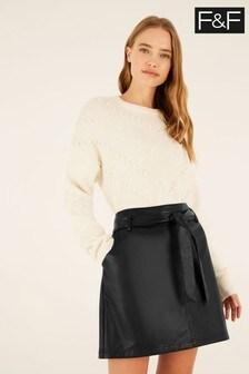 F&F Black PU Mini Skirt