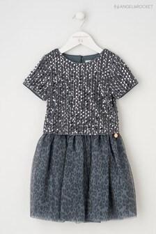 Angel & Rocket Blue Sequin Top Animal Print Dress