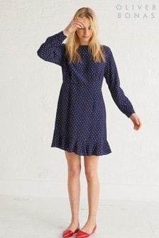 שמלה עם נקודות של Oliver Bonas מדגם Heart בצבע כחול