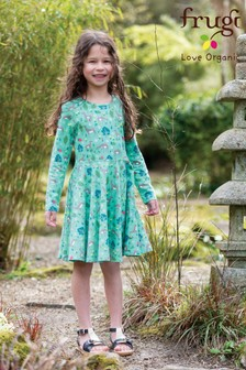 Frugi GOTS Organic Long Sleeve Skater Dress In A Deer And Woodland Print