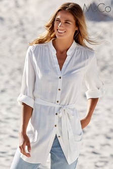 M&Co Ivory Belted Longline Shirt