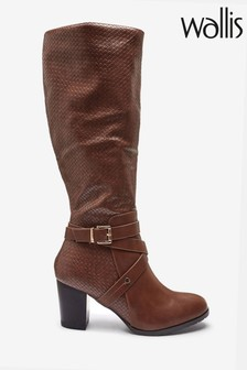 Wallis Headliner Tan Woven PU High Leg Boots