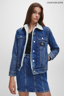 Calvin Klein Jeans Blue Sherpa 90s Denim Jacket