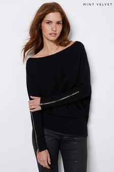 Mint Velvet Black Zip Cuff Batwing Jumper