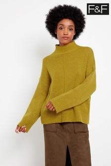 F&F Yellow Chartreuse Front Seam Jumper