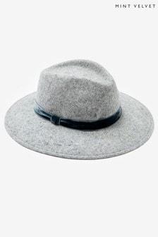 Mint Velvet Grey Fedora Velvet Trim Hat