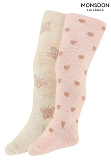 Monsoon Children Multi Baby Sparkly Butterfly Tights 2 Pack