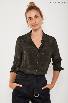 Mint Velvet Multi Camo Print Utility Shirt