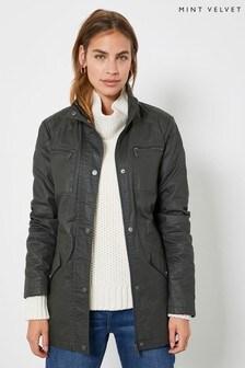 Mint Velvet Khaki Waxed Cotton Jacket