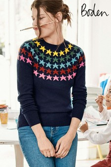 Boden Blue Zoe Fairisle Pattern Jumper