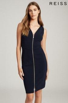 Reiss Navy Eva Zip Detailed Bodycon Dress