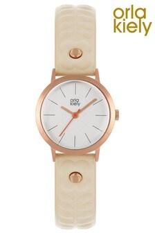 Orla Kiely Ladies Cream Stem Embossed Strap Watch