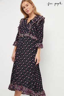 Free People Black Calico Skies Midi Dress