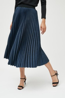 Pleated Denim Look Midi Skirt