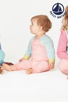 Petit Bateau gestreifter Schlafanzug ohne Füße, Pink/Mehrfarbig
