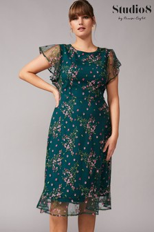 Studio 8 Green Aileen Embroidered Dress