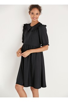 Maternity Collar Detail Textured Dress
