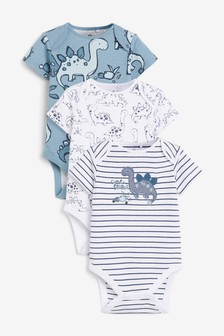 3 Pack Dino Short Sleeved Bodysuits (0mths-3yrs)