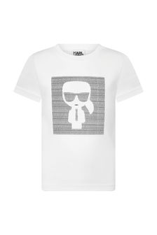 Karl Lagerfeld Boys White Cotton T-Shirt