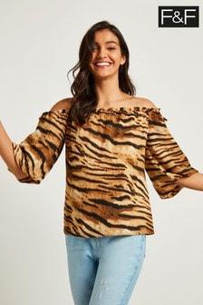 F&F Multi Tiger Bardot Top